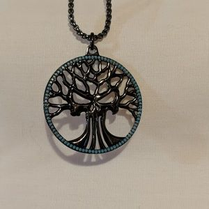 Silver and Turquoise Tree of Life Pendant